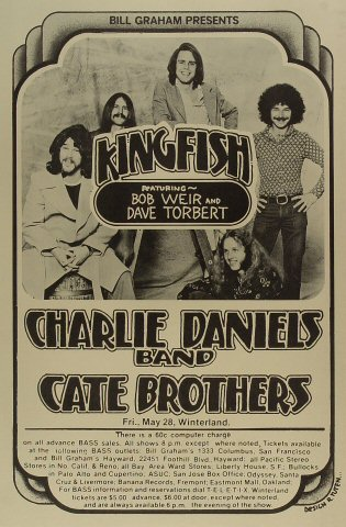 "Kingfish Poster from Winterland on 28 May 76: 12 1/2"" x 19"""