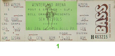 The Sex Pistols 1970s Ticket from Winterland on 14 Jan 78: Ticket One