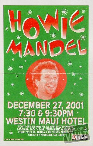 "Howie Mandel Handbill from Westin Maui Hotel on 27 Dec 01: 5 1/2"" x 8 1/2"""