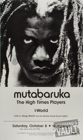 "Mutabaruka Poster from Wolfgang's on 08 Oct 83: 12"" x 20"""