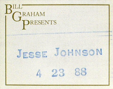 Jesse Johnson Backstage Pass from Wilson Theatre on 23 Apr 88: Pass 1