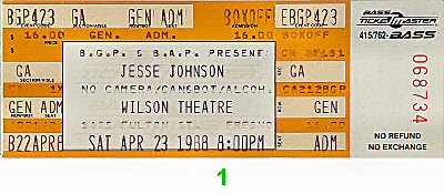 Jesse Johnson 1980s Ticket from Wilson Theatre on 23 Apr 88: Ticket One