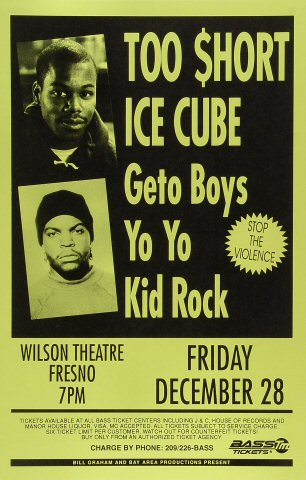 "Too Short Poster from Wilson Theatre on 28 Dec 90: 11"" x 17"""
