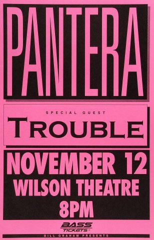 "Pantera Poster from Wilson Theatre on 12 Nov 92: 11"" x 17"""