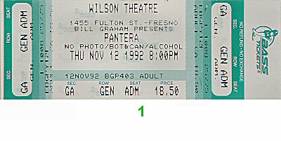 Pantera 1990s Ticket from Wilson Theatre on 12 Nov 92: Ticket One