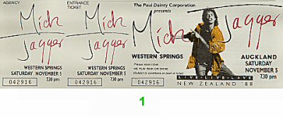Mick Jagger 1980s Ticket from Western Springs Stadium on 05 Nov 88: Ticket One