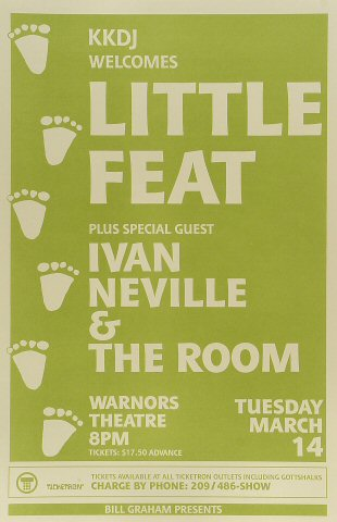 "Little Feat Poster from Warnor's Theatre on 14 Mar 89: 11"" x 17"""