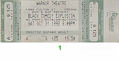 Jamie Foxx 1990s Ticket from Warnor's Theatre on 31 Oct 92: Ticket One