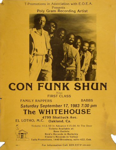 "Con Funk Shun Poster from Whitehouse on 17 Sep 83: 17 1/4"" x 22 1/2"""