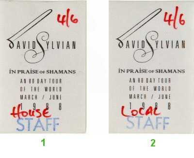 David Sylvian Backstage Pass from Zellerbach Hall on 06 Apr 88: Pass 2