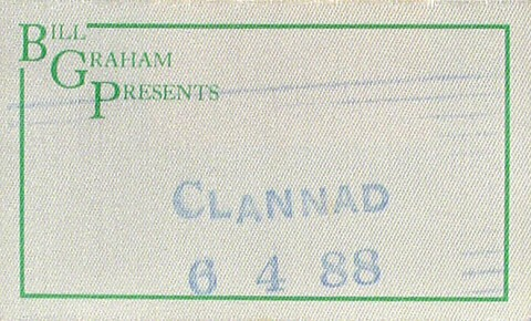 Clannad Backstage Pass from Zellerbach Hall on 04 Jun 88: Pass 1