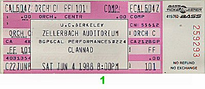 Clannad 1980s Ticket from Zellerbach Hall on 04 Jun 88: Ticket One
