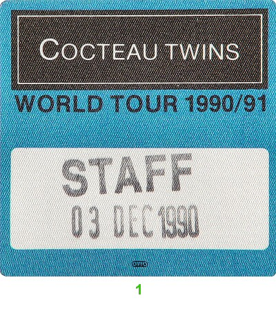 Cocteau Twins Backstage Pass from Zellerbach Hall on 03 Dec 90: Pass 1