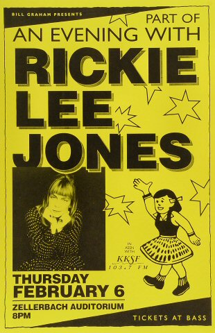 Rickie Lee Jones Poster from Zellerbach Hall on 06 Feb 92: 11&quot; x 17&quot;