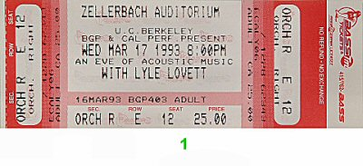 Lyle Lovett 1990s Ticket from Zellerbach Hall on 17 Mar 93: Ticket One