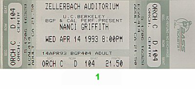 Nanci Griffith 1990s Ticket from Zellerbach Hall on 14 Apr 93: Ticket One