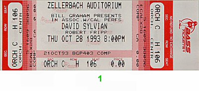 David Sylvian 1990s Ticket from Zellerbach Hall on 28 Oct 93: Ticket One