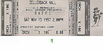 Raffi 1990s Ticket from Zellerbach Hall on 15 Nov 97: Ticket One