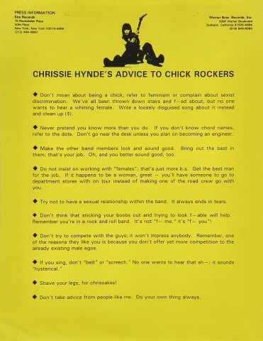 "The Pretenders Handbill  on 10 May 94: 8 1/2"" x 11"""
