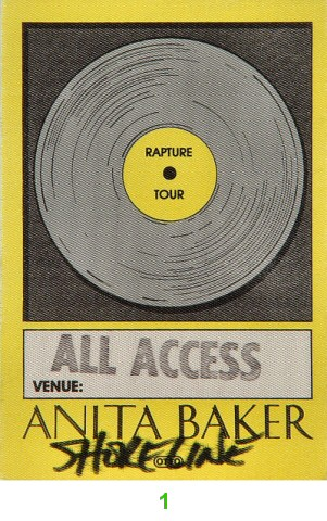 Anita Baker Backstage Pass from Shoreline Amphitheatre : Pass 1