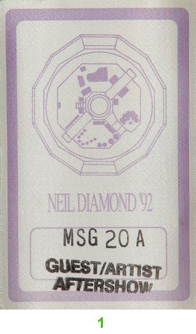 Neil Diamond Backstage Pass from Madison Square Garden : Pass 1