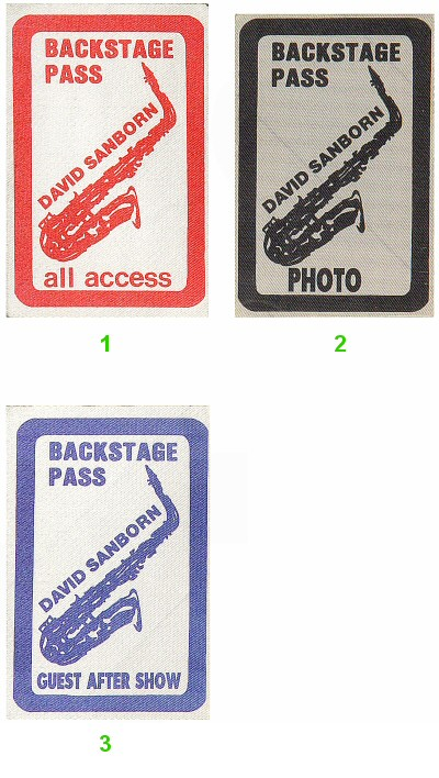 David Sanborn Backstage Pass  : Pass 2