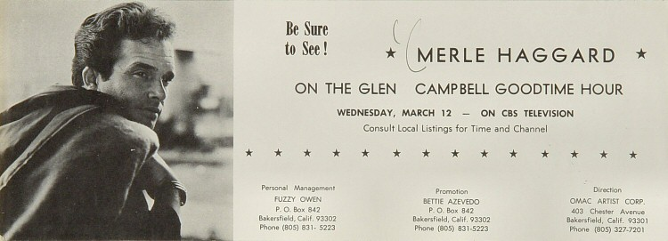 """Merle Haggard Handbill  : 4"""" x 11"""""""