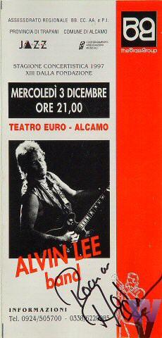 "Alvin Lee Program from Teatro Euro on 03 Dec 97: 4"" x 8 1/4"""