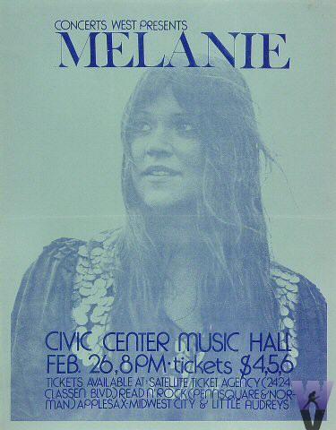"Melanie Handbill from City Center Music Hall : 8 1/2"" x 11"""