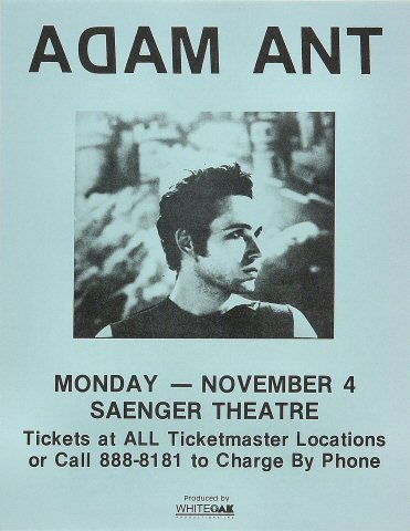 Adam Ant Handbill from Saenger Theatre : 8 1/2&quot; x 11&quot;