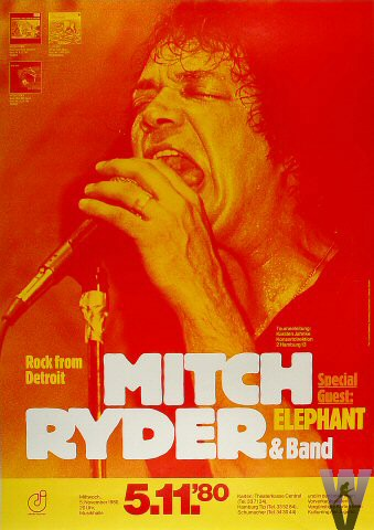 "Mitch Ryder Poster  on 05 Nov 80: 11 1/2"" x 33"""