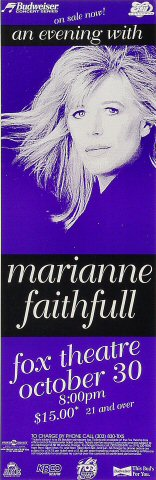 "Marianne Faithfull Poster from Fox Theatre Boulder : 5 5/8"" x 17"""
