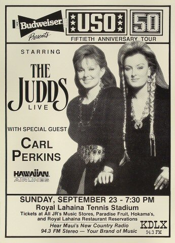 "The Judds Poster from Royal Lahaina Tennis Stadium on 23 Sep 90: 12 1/2"" x 17 5/16"""