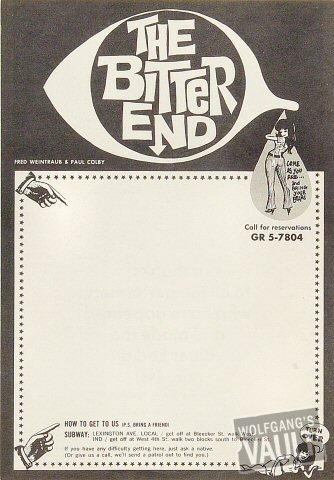 """The Bitter End Handbill from New York City : 7"""" x 10 1/8"""""""