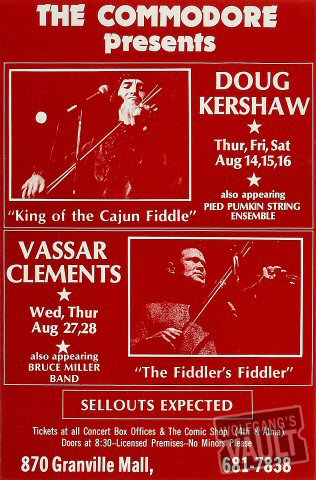 "Doug Kershaw Poster from Commodore Ballroom : 10 1/4"" x 15 5/8"""