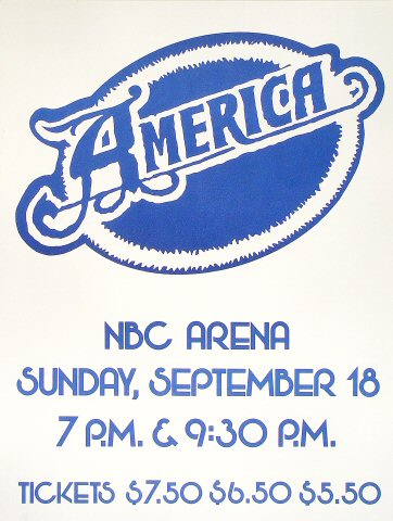 "America Poster from NBC Arena on 18 Sep 77: 17 1/2"" x 23"""