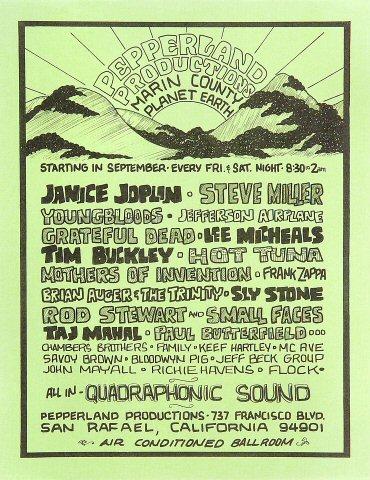 """Janis Joplin Handbill from Pepperland : 8 1/2"""" x 11"""""""