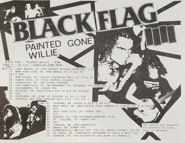 """Black Flag Handbill from Nugget : 8 1/2"""" x 11"""""""