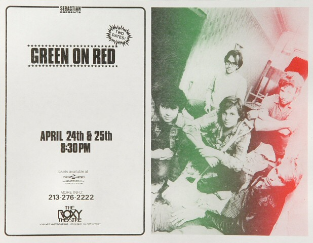 "Green on Red Handbill from Roxy : 8 1/2"" x 11"""