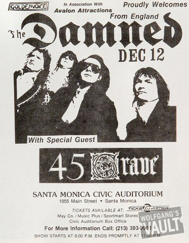 "The Damned Handbill from Santa Monica Civic Auditorium : 8 1/2"" x 11"""