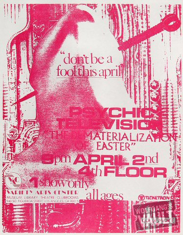 "Psychic TV Handbill from Variety Arts Center : 8 1/2"" x 11"""