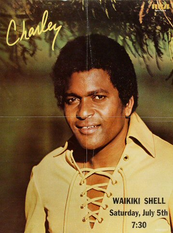 "Charley Pride Poster from Waikiki Shell on 05 Jul 80: 18"" x 24"""