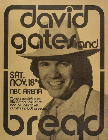 "David Gates Poster from NBC Arena on 18 Nov 72: 17"" x 22"""