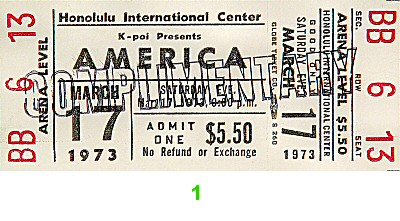 America 1970s Ticket from Honolulu International Center on 17 Mar 73: Ticket One