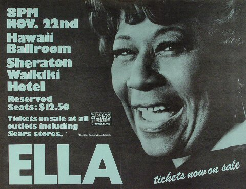 "Ella Fitzgerald Poster from Sheraton Waikiki Hotel on 22 Nov 75: 17"" x 22 1/8"""