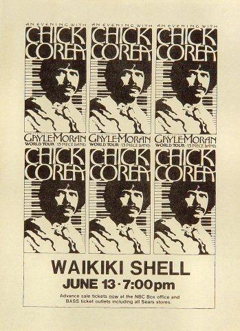 """Chick Corea Handbill from Waikiki Shell on 13 Jun 78: 6 3/4"""" x 9 3/8"""""""