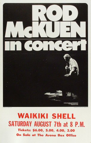 "Rod McKuen Poster from Waikiki Shell on 07 Aug 93: 14"" x 22"""
