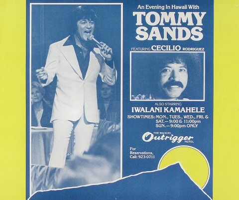 "Tommy Sands Poster from Waikiki Outrigger Hotel : 13 1/8"" x 15 3/4"""