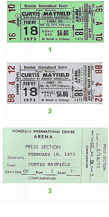 Curtis Mayfield 1970s Ticket from Honolulu International Center on 18 Feb 73: Ticket Three