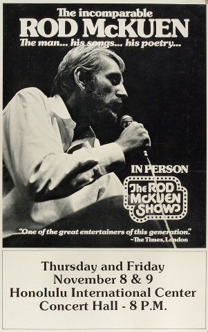 "Rod McKuen Poster from Honolulu International Center on 08 Nov 73: 13 1/2"" x 21 1/2"""